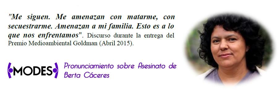 Pronunciamiento Asesinato de Berta Cáceres